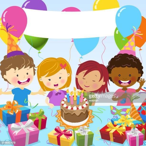 illustrations, cliparts, dessins animés et icônes de multi-ethnique enfants célébrez un anniversaire - anniversaire enfant