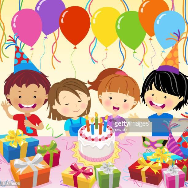 Multi-Ethnic Kids Celebrate Birthday Party