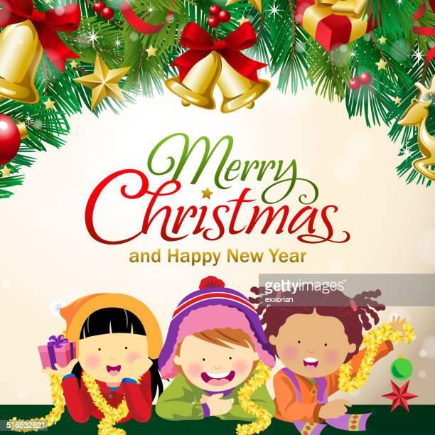 Multi-ethnischen Kinder Feiern Sie Weihnachten