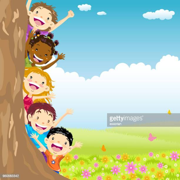 multi-ethnic kids hiding behind tree - naughty america stock illustrations
