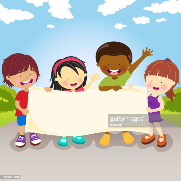 Multikulturellen Kinder halten Banner
