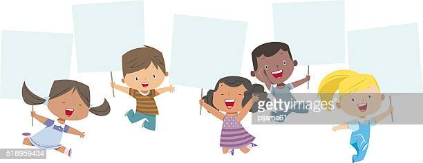 stockillustraties, clipart, cartoons en iconen met multi-ethnic kids holding banner - bord bericht