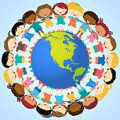 Multi-Ethnic Kids Holding Hands Around Globe