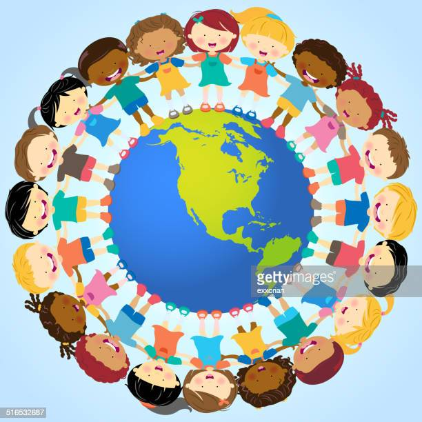 multi-ethnic kids holding hands around globe - symbols of peace stock illustrations