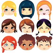 Multiethnic representation with varying facial expressions