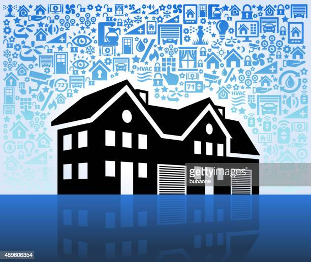 Multi-Family House on Home Automation and Security Vector Background