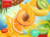 Multifruit juice. Sweet tropical fruits. 3d realistic vector, package design