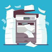 Multifunction office printer, computer scanner printing and copying paper documents cartoon vector illustration