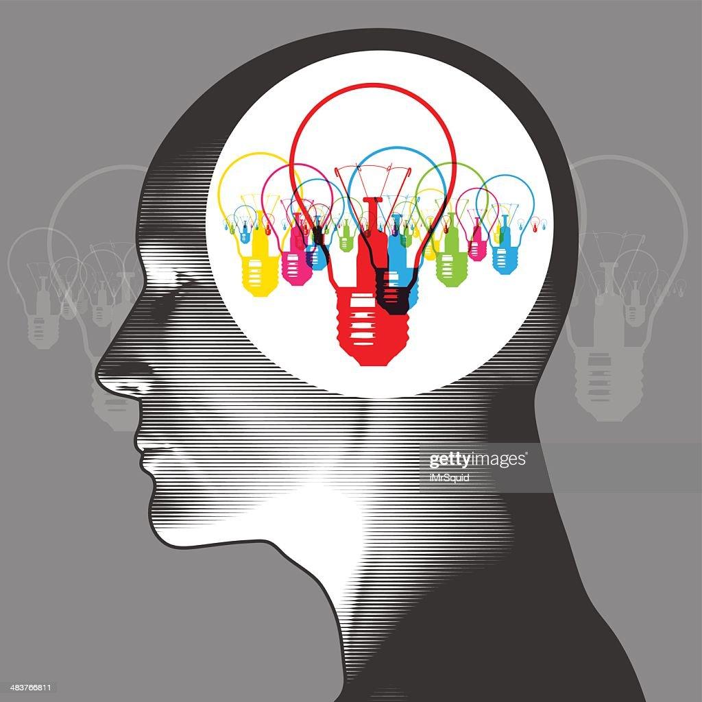 Multi-ideas on the brain : stock illustration