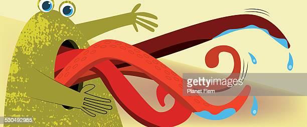 multilingual monster - animal saliva stock illustrations, clip art, cartoons, & icons