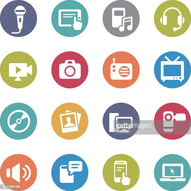 Multimedia and Equipment Icons - Circle Series