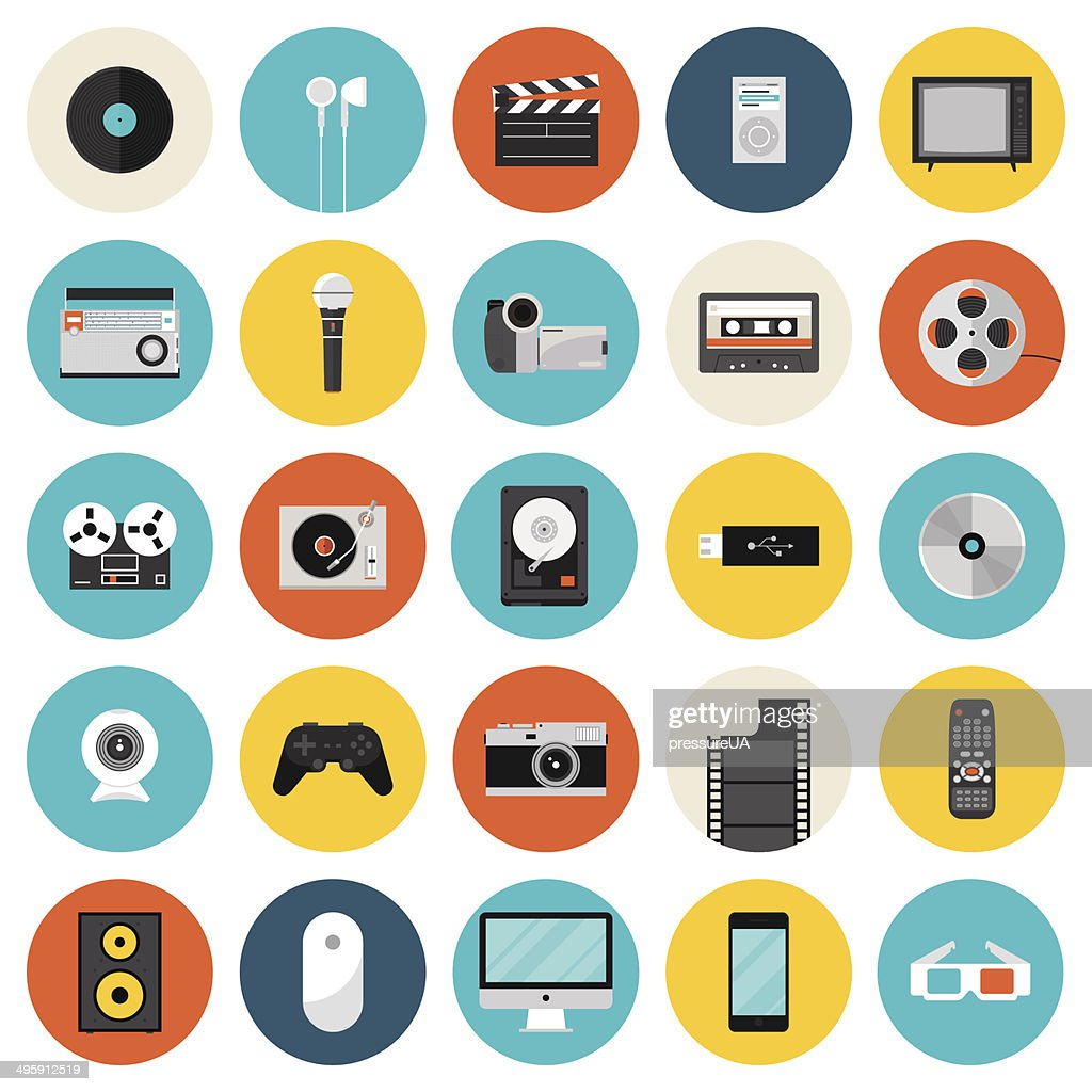 Multimedia and technology flat icons