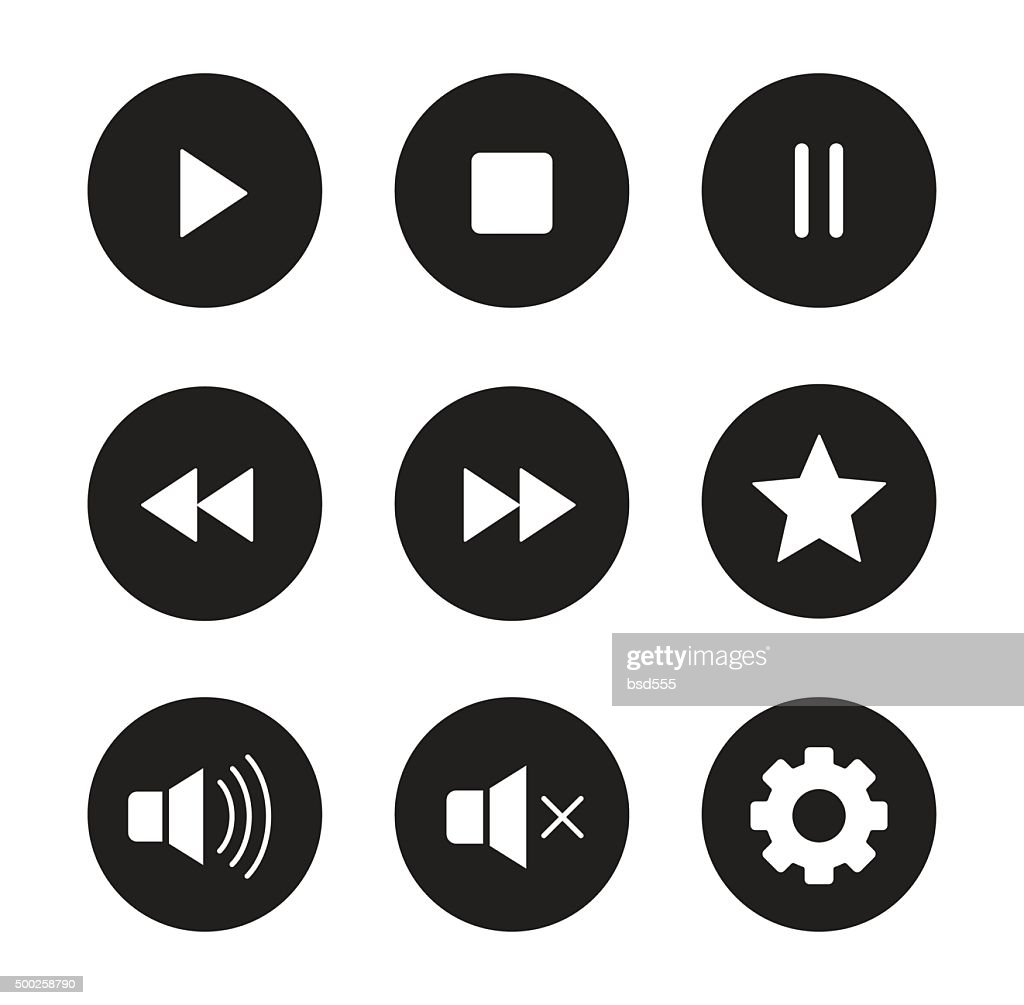 Multimedia black icons set