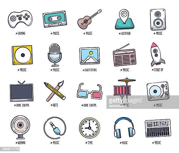 multimedia doodles - cassette stock illustrations, clip art, cartoons, & icons