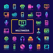Multimedia Gradient Vector Icon Set.