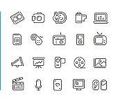 Multimedia Icon Set // Blue Line Series