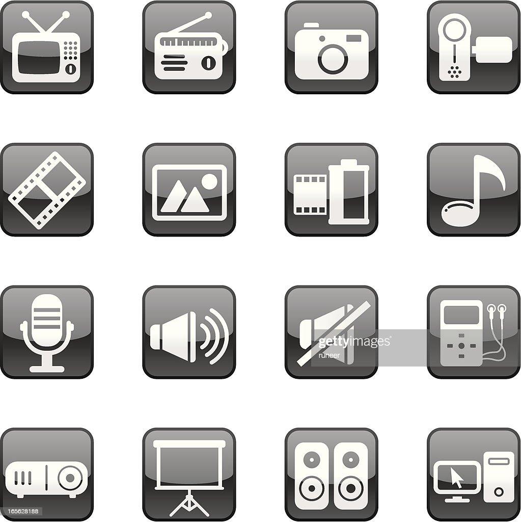 Multimedia icons   Black Diamond series : stock illustration