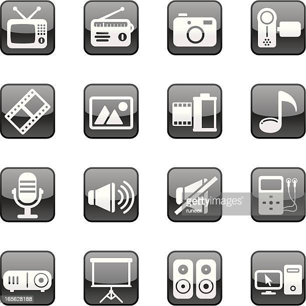 multimedia icons | black diamond series - desk toy stock illustrations, clip art, cartoons, & icons