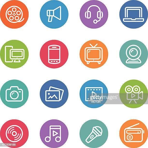 multimedia icons - circle line series - webcam media apparaat stock illustrations