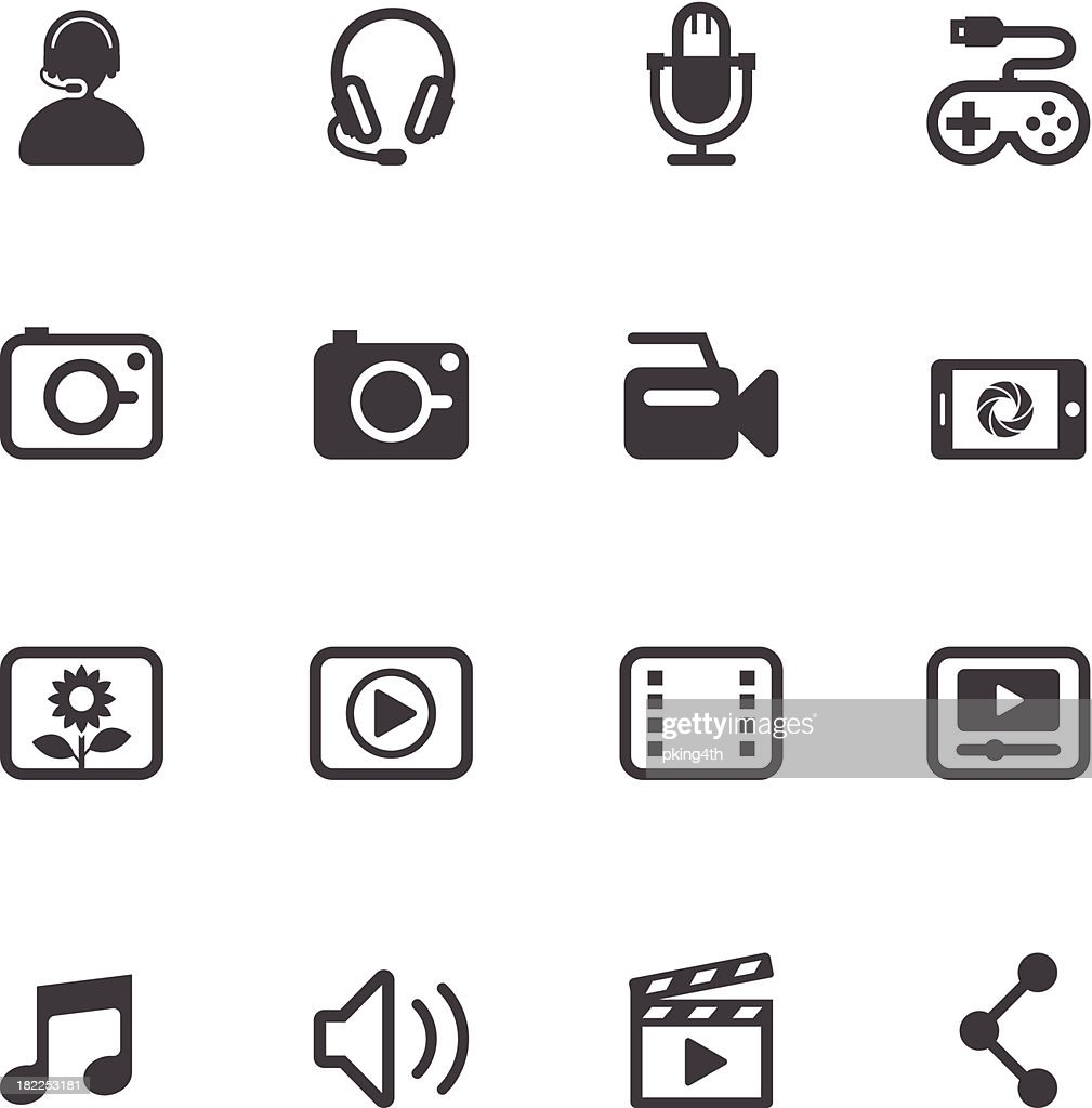 Multimedia icons in flat black and white format