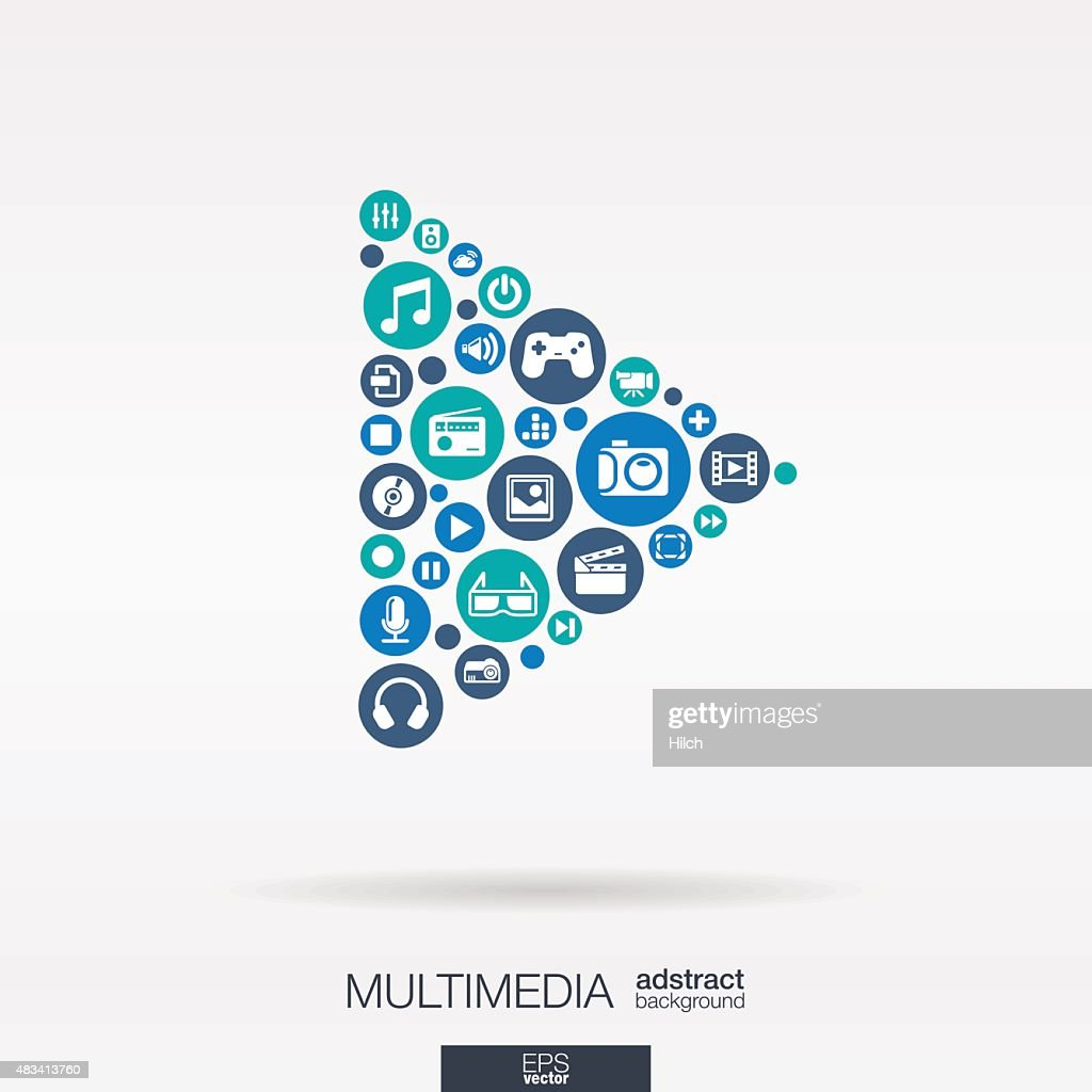 Multimedia icons in play button shape abstract background: vector illustration.