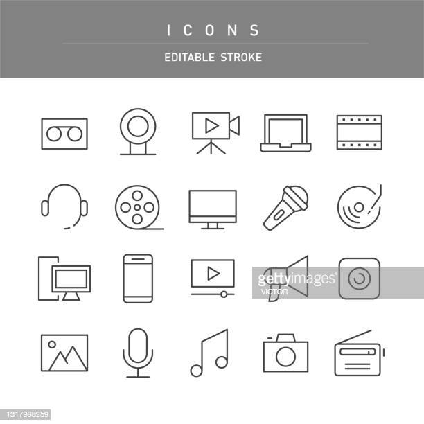 multimedia icons - line series - webcam media apparaat stock illustrations