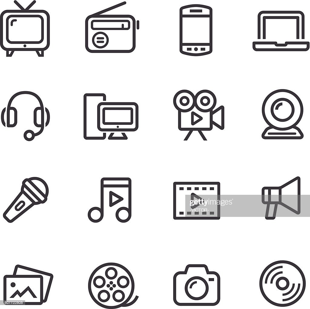 Multimedia Icons - Line Series : stock illustration