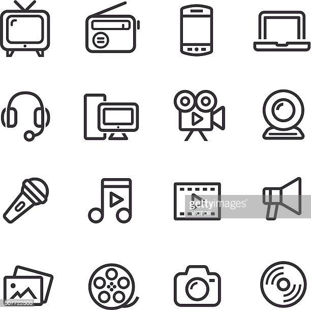 multimedia icons - line series - video camera stock illustrations, clip art, cartoons, & icons