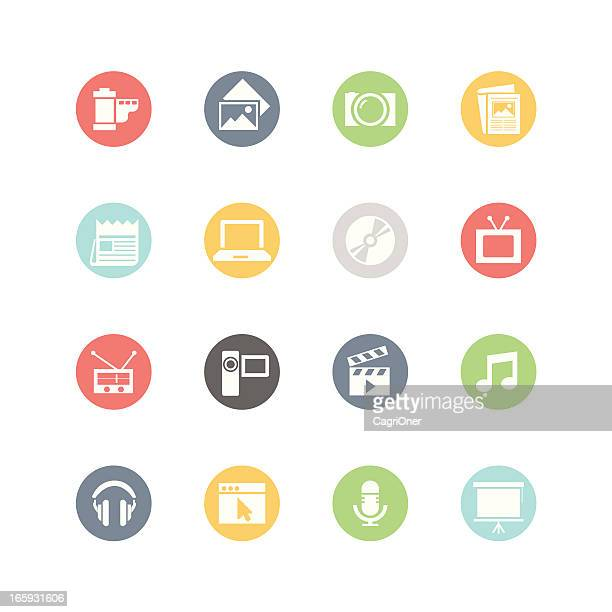 illustrations, cliparts, dessins animés et icônes de icônes multimédias: style minimaliste - diaporama