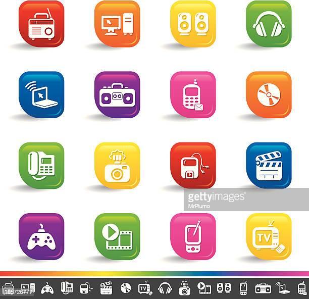 Multimedia icons | Rainbow Series