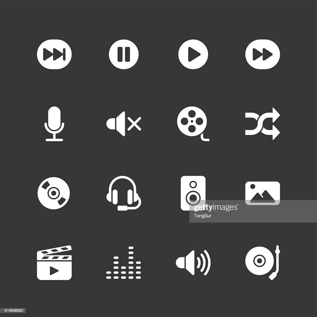 Multimedia icons - Regular - White Series