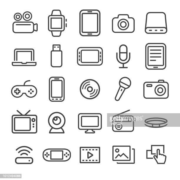 multimedia icons - smart line series - microphone transmission stock illustrations