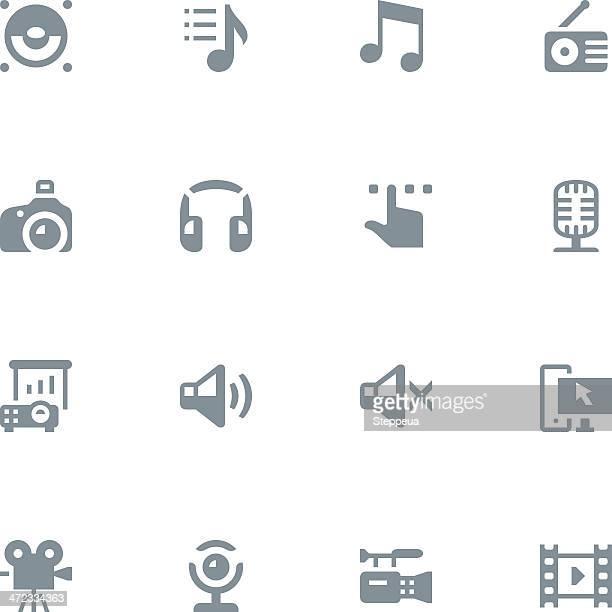 multimedia icons - webcam media apparaat stock illustrations