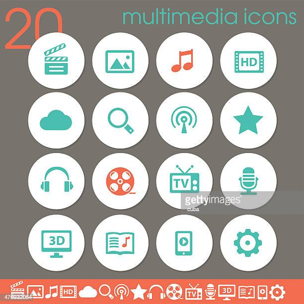 Multimedia icons | white circles collection