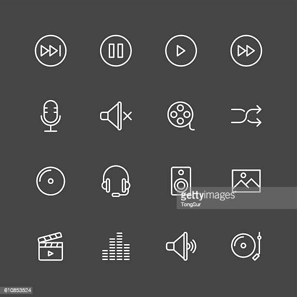 Multimedia icons - White Series