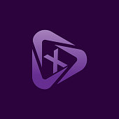 multimedia initial Letter X icon design