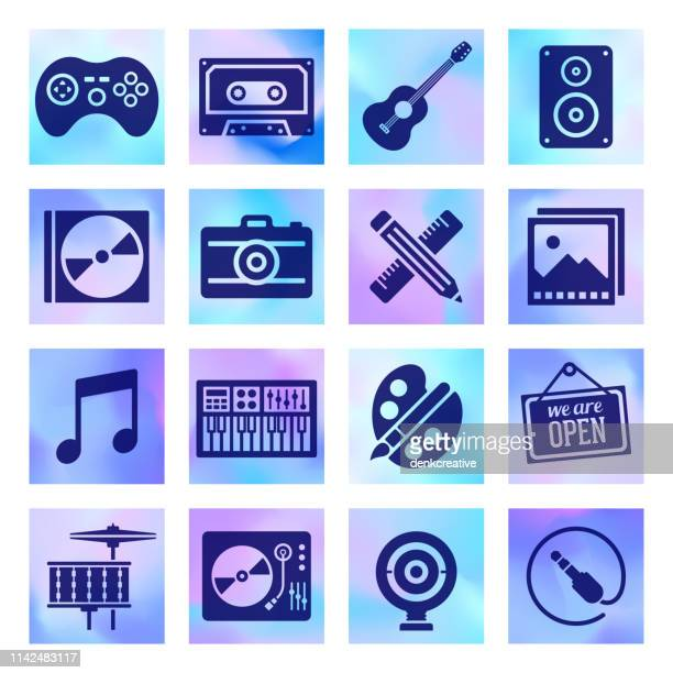 multimedia & music equipment holographic style vector icon set - amplifier stock illustrations, clip art, cartoons, & icons