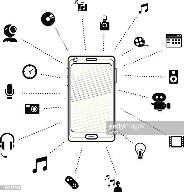 multimedia on smartphone  b&w - webcam media apparaat stock illustrations