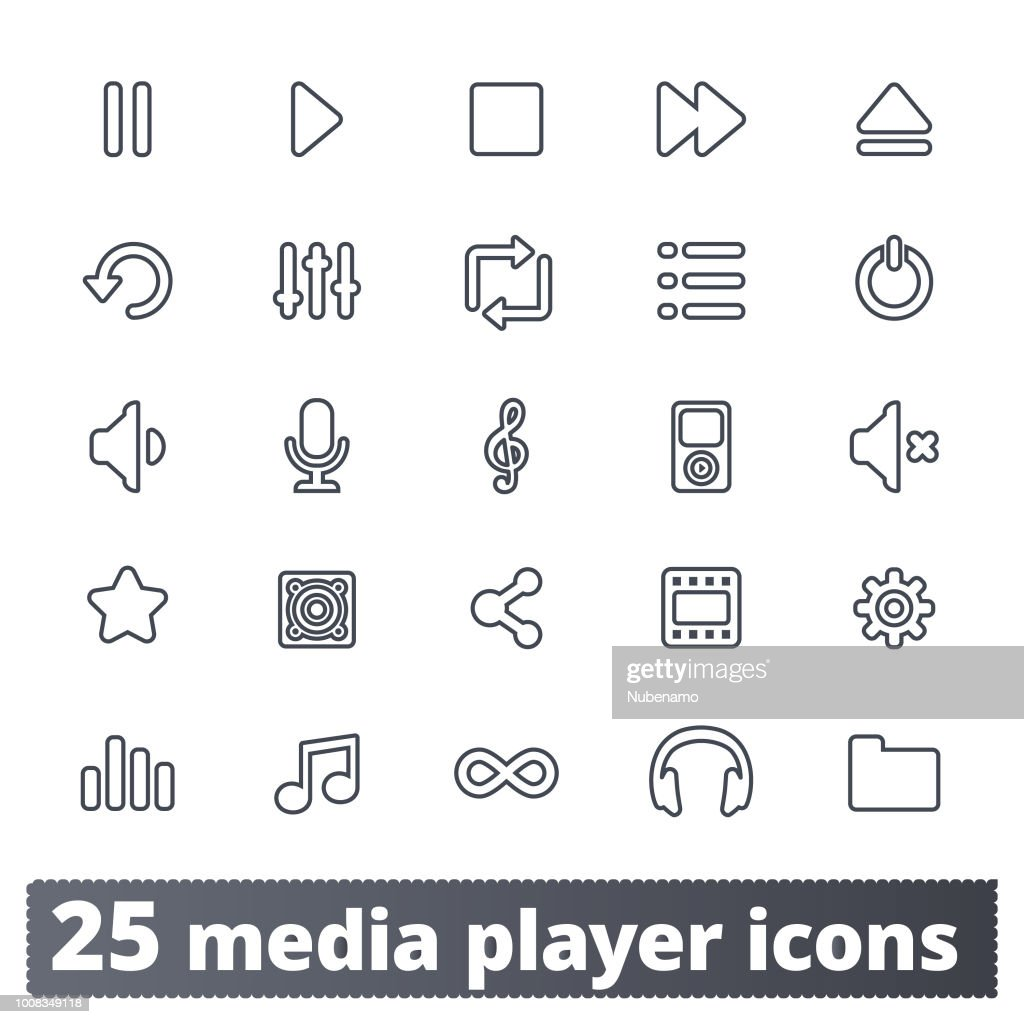 Multimedia Player, Music And Video Line Icons