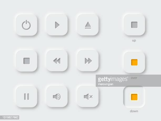 multimedia symbols and audio, music speaker volume icons - play off stock illustrations