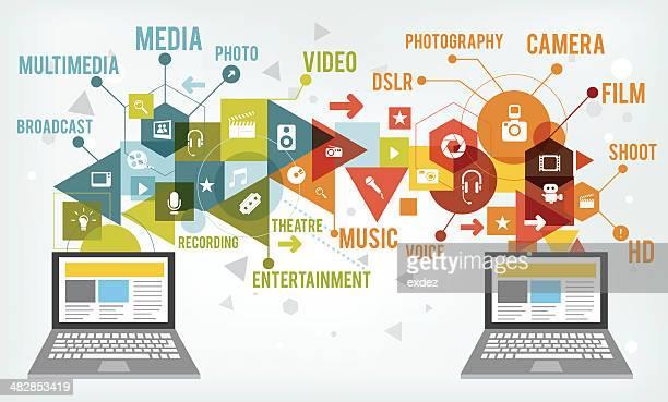 multimedia tech - video still stock illustrations, clip art, cartoons, & icons
