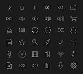 Multimedia white line art digital icons