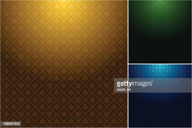 multiple casino backgrounds in three different colors - ace stock illustrations, clip art, cartoons, & icons