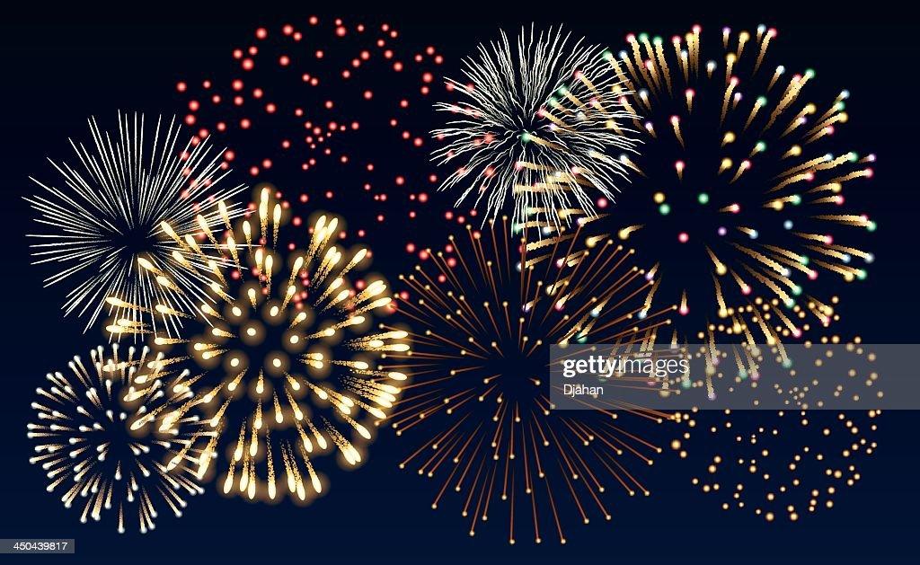 Multiple colorful fireworks bursts on black background