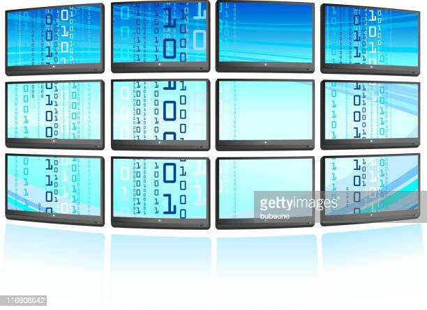 Multiple displays with abstract blue Background