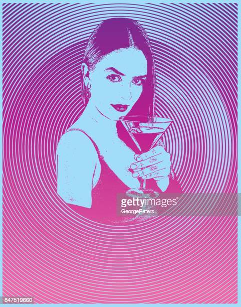 multiple exposure composite of a sensuous woman drinking martini with half tone pattern background - happy hour stock illustrations, clip art, cartoons, & icons