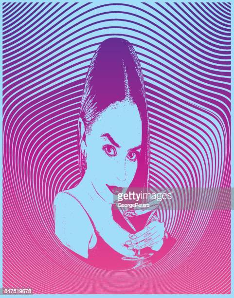 Multiple exposure composite of a sensuous woman drinking martini with a warped and distorted half tone pattern background