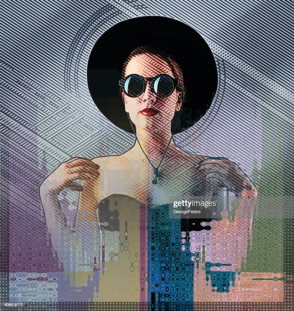 Multiple exposure illustration of a glamorous woman and half tone pattern