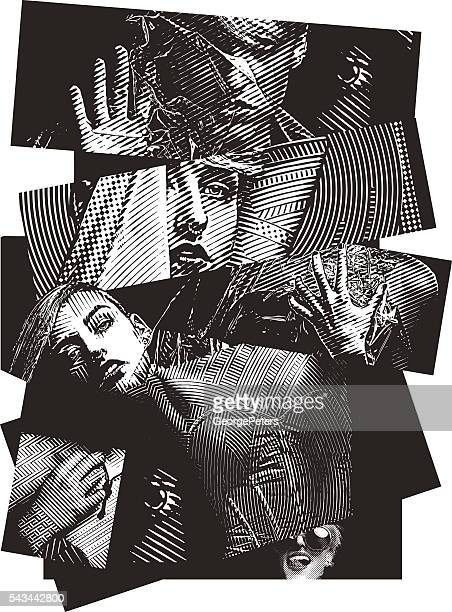 multiple exposure image of a woman with mixed emotions - mental illness stock illustrations