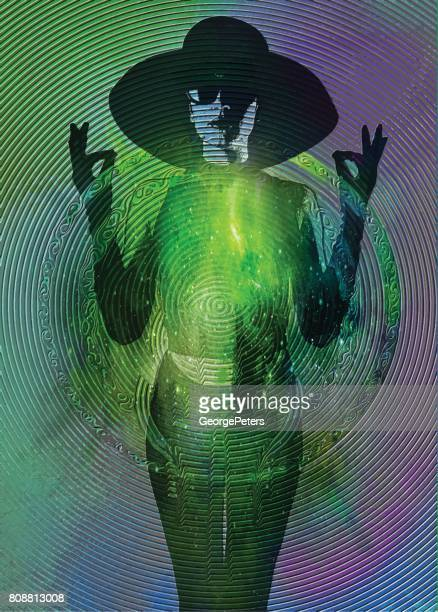 Multiple exposure image of a Zen-like woman wearing vintage fashion with space background